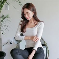 Babi n Pumkin - Square-Neck Ribbed Top