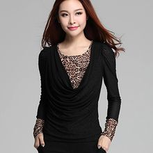 Lovebirds - Long-Sleeve Drape-Front Leopard-Trim Top