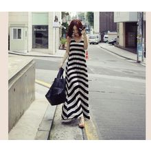 Dream Girl - Maternity Set: Striped Maxi Tank Dress + Cardigan