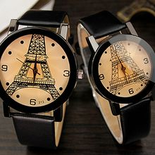 YAZOLE - Couple Matching Eiffel Tower Print Strap Watch