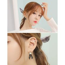 soo n soo - Faux-Suede Studded Dangle Earrings