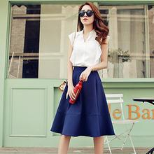 Romantica - Set: Short-Sleeve Paneled Top + Midi Skirt
