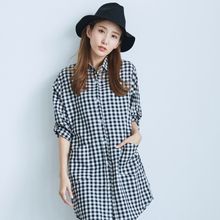 BAIMOMO - Tab-Sleeve Check Long Blouse