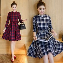 Ekim - Plaid Long-Sleeve A-line Dress