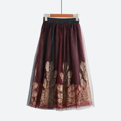 Flore - Embroidery Mesh Midi Skirt