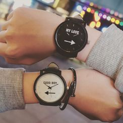 InShop Watches - 'My Love/Good Boy' Lettering Strap Watch