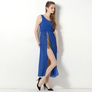 59 Seconds - Sleeveless Sequined Underlay Slit Maxi Party Dress