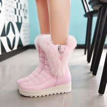 Pastel Pairs - Furry Trim Hidden Wedge Short Snow Boots