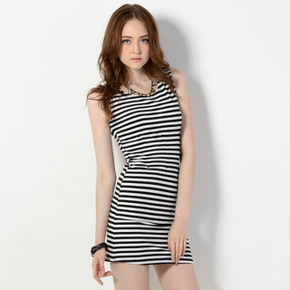 59 Seconds - Sleeveless Striped A-Line Dress