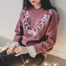 JUSTONE - Pleat-Cuff Flower-Embroidered Knit Top