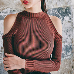 chuu - Cutout-Shoulder Wool Blend Knit Top