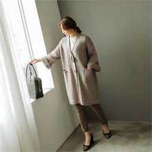 JOAMOM - Roll-Up Sleeve Dual-Pocket Cardigan