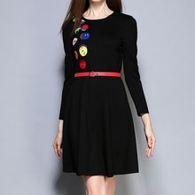 Merald - Cartoon Applique 3/4 Sleeve A-Line Dress