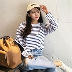 QNIGIRLS - Round-Neck Stripe T-Shirt