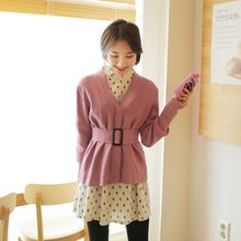 Cherryville - V-Neck Knit Jacket with Belt