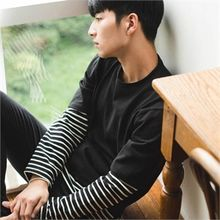 STYLEMAN - Color-Block Stripe Layered T-Shirt