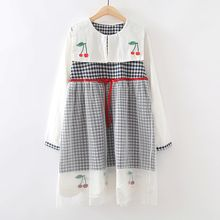 ninna nanna - Gingham Embroidered Sailor Collar Long-Sleeve Dress
