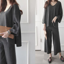 NIPONJJUYA - Set: Wool Blend Knit Top + Wide-Leg Pants