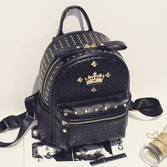 Peacha - Studded Faux Leather Backpack