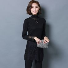 lilygirl - Fleece-Lined Lace Panel Long-Sleeve Top