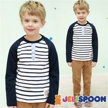 JELISPOON - Boys Set: Half-Placket Striped Top + Pants
