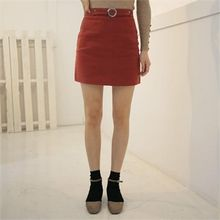 QNIGIRLS - Buckled-Front Mini Skirt