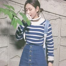 Dute - Striped Mock Neck Sweater