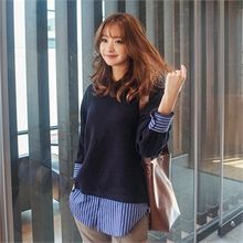 Styleberry - Inset Round-Neck Knit Top Stripe Shirt