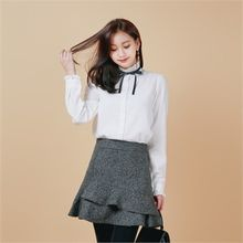 Styleberry - Tie-Neck Frill-Trim Cotton Blouse