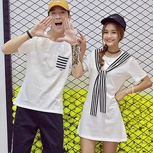 Tabula Rasa - Couple Matching Short-Sleeve Pocketed T-Shirt / Short-Sleeve Tie neck Dress