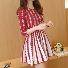 Ekim - Patterned Long-Sleeve Knit Dress