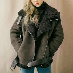chuu - Belted Faux-Shearling Biker Jacket