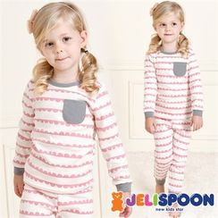 JELISPOON - Kids Pocket-Front Patterned Pajama set