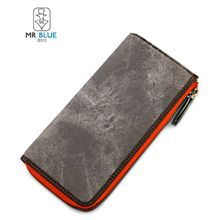 MR.BLUE - Faux Leather Long Wallet