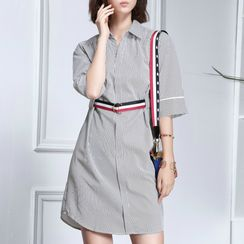 Sentubila - Striped Elbow-Sleeve Shirtdress