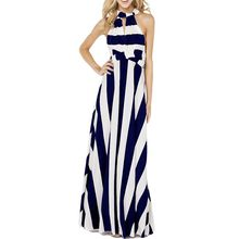 Richcoco - Striped Halter Maxi Dress