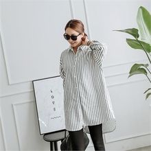 JOAMOM - Dip-Back Striped Long Shirt
