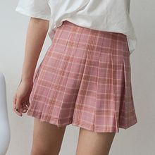 TriStyle - Plaid High-Waist Pleated Skirt