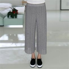 CHICFOX - Band-Waist Wide-Leg Pleated Pants