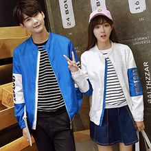 Tabula Rasa - Couple Matching Lettering Color Panel Zip Jacket