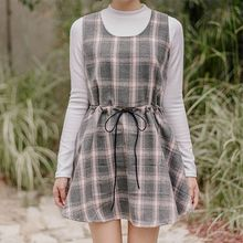 icecream12 - Sleeveless Check A-Line Mini Dress