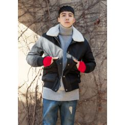 GERIO - Faux-Fur Collar Snap-Button Jacket