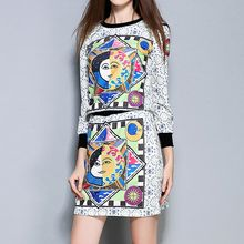 Merald - Set: Printed 3/4 Sleeve Pullover + Mini Skirt