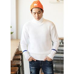 HOTBOOM - Turtle-Neck Contrast-Trim Sweater