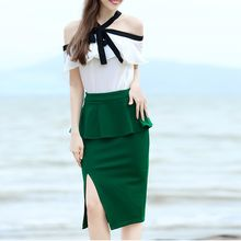 Deedlit - Set:Ruffled Top + Peplum Skirt