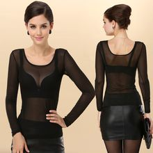 camikiss - Sheer Long-Sleeve Mesh Top