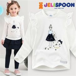 JELISPOON - Girls Frill-Trim Appliqué Printed T-Shirt