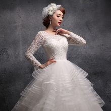 Coeur Wedding - Lace Panel Long Sleeve Tiered Wedding Ball Gown