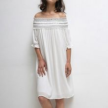 Isadora - Embroidrered Off Shoulder Elbow Sleeve Dress