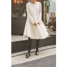 CHERRYKOKO - Puff-Sleeve Shirred-Waist Dress